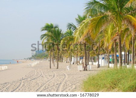 Early morning view of Fort Lauderdale Beach, Florida - stock photo
