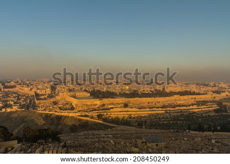 Early morning view of Jerusalem  - stock photo