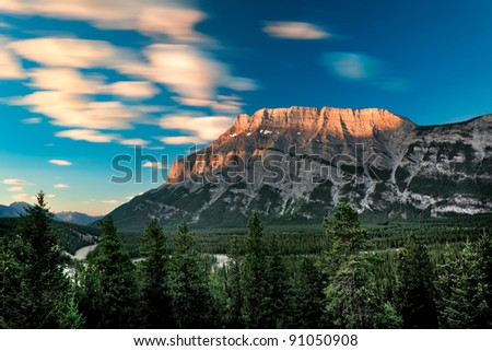 Early morning view of Mount Rundle in Banff National Park - stock photo