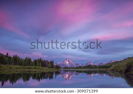 Early morning view of Oxbow Bend in Wyoming's Grand Teton National Park. - stock photo