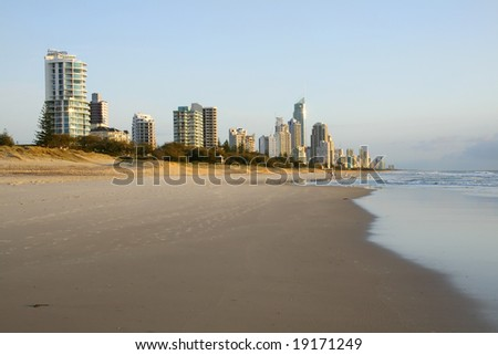 Early morning view of Surfers Paradise skyline on the Gold Coast Australia from Southern Broadbeach - stock photo