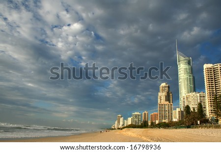 Early morning view of Surfers Paradise skyline on the Gold Coast Australia from the Northern end. - stock photo
