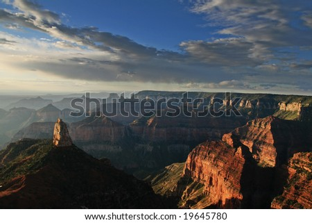 early morning view of the Grand Canyon National Park from the Point Imperial overlook on the North Rim, Arizona - stock photo