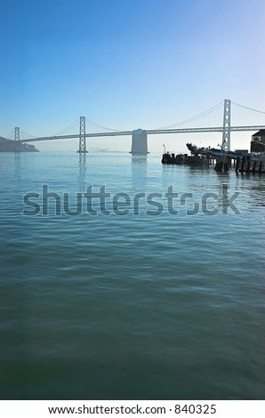 Early morning view of the San Francisco Bay Bridge. - stock photo