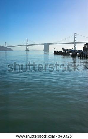 Early morning view of the San Francisco Bay Bridge. - stock photo
