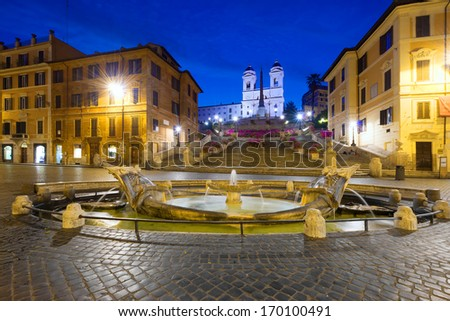 Early morning view of Trinita�  dei monti stairs in Piazza di Spagna, Rome - stock photo