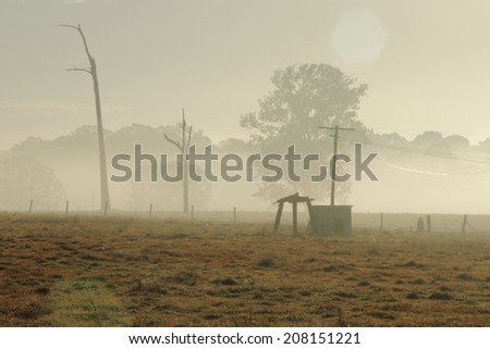 early morning winter fog with sun flare rural australia - stock photo