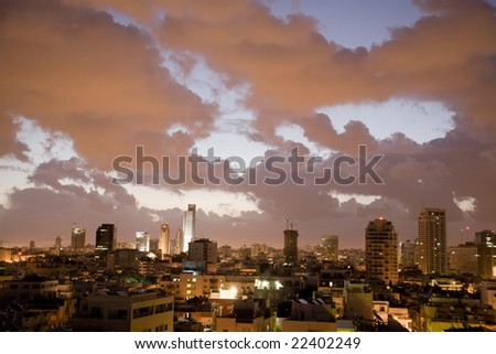 Early morning with clouds in Tel Aviv