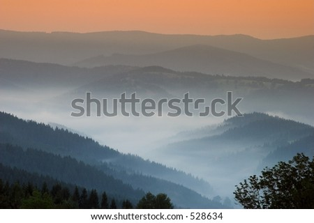 Early morning with fog, sunrise