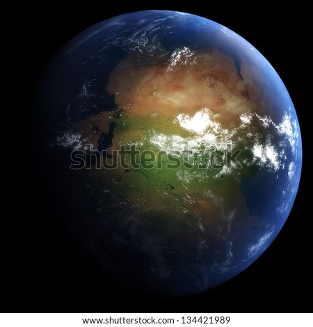 Early Permian Earth: 298.9 Million Years Ago - stock photo