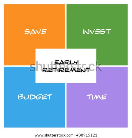 Early Retirement Boxes and rectangle concept with great terms such as save, invest, budget and more. - stock photo