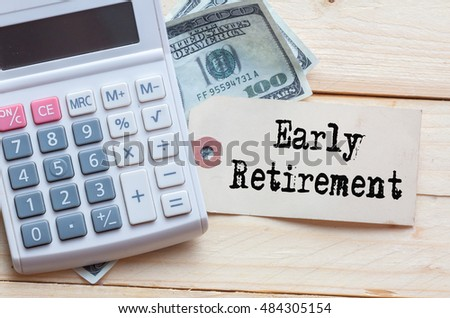 early retirement words on tag clockdollar stock photo royalty free