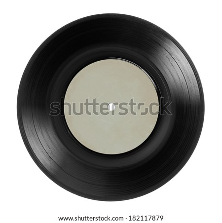 Early 1970s  single EP record or analog disc (33 or  45 rpm / 7 inch), isolated on white.  - stock photo