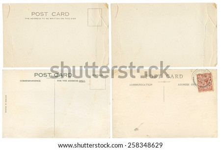 Early 1900's torn and creased Post Cards, including one blank one - stock photo