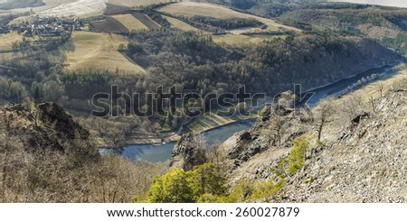 Early spring landscape panorama of deep river valley. Concept of middle Europe inland beautiful nature.