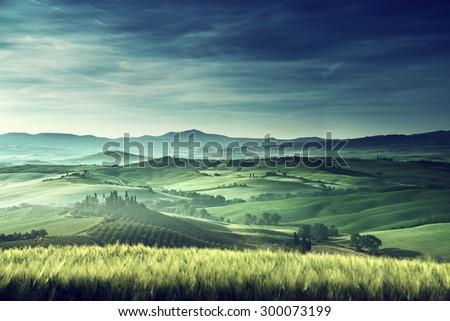 Early spring morning in Tuscany, Italy - stock photo