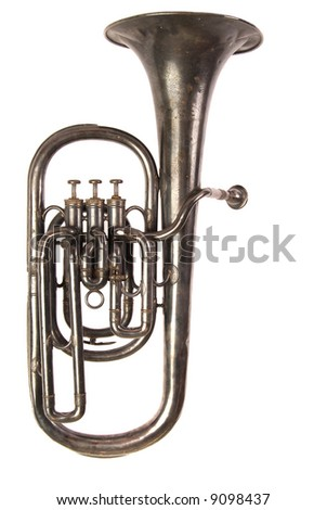 Early 20th century, engraved baritone brass horn band musical instrument on white iso background