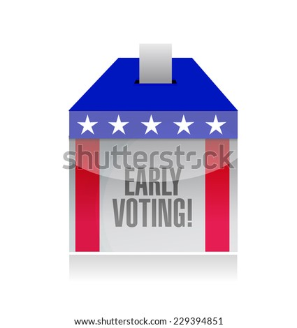 early voting ballot box illustration design over a white background - stock photo