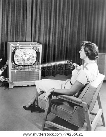 Early Zenith remote control TV set, June 1955 - stock photo