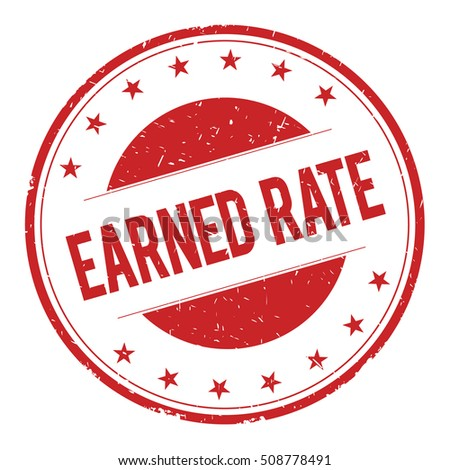 EARNED-RATE stamp sign text word logo red.