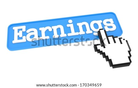 Earnings Button with Hand Cursor. Internet Concept. - stock photo
