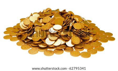 Earnings. Heap of golden coins isolated over white