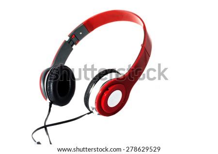 earphones for music on white background - stock photo