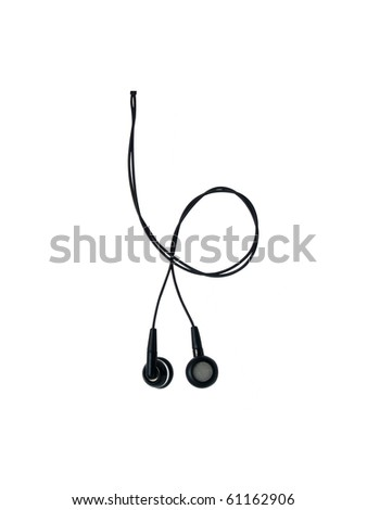 earphones isolated on white - stock photo