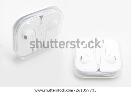 Earphones isolated on white background