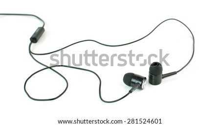 earphones isolated on white background - stock photo