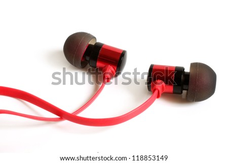 Earphones on a white background - stock photo