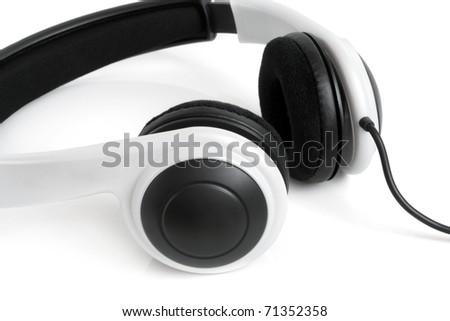 Earphones on the white background - stock photo