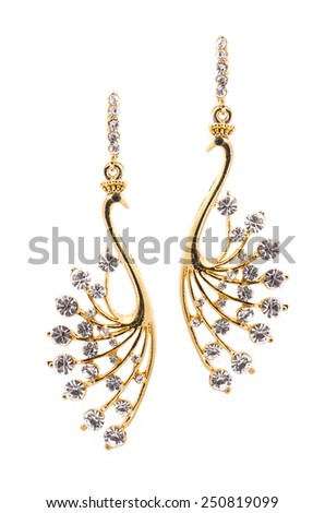 Earrings in the form of birds inlaid  with  gemstones on a white background - stock photo