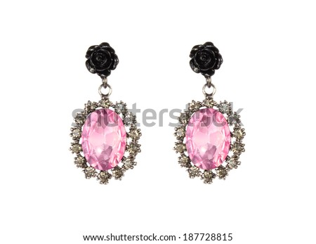 Earrings isolated on white background - stock photo