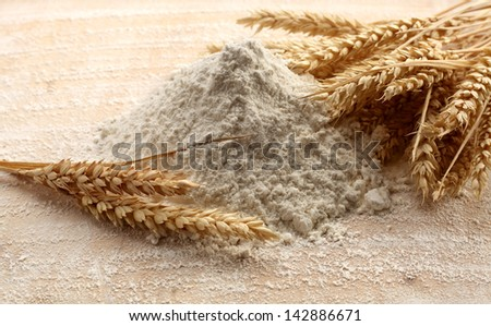 ears and flour - stock photo