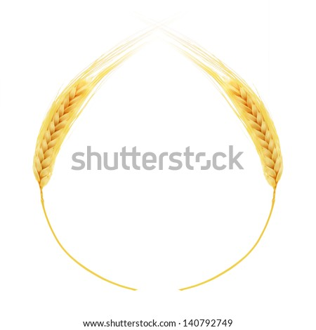 Ears of wheat border isolated on white background - stock photo
