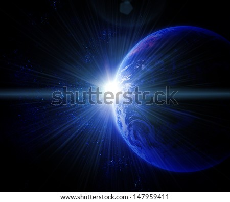 earth against the sun in space. Elements of this image are furnished by NASA