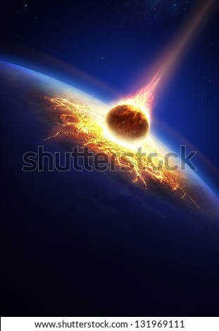 Earth and asteroid colliding (Elements of this image furnished by NASA- earthmap for render  from http://visibleearth.nasa.gov) - stock photo