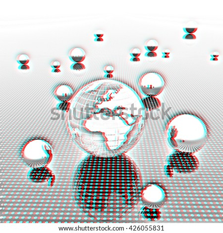 Earth and ball on light path to infinity. 3d render . Pencil drawing. 3D illustration. Anaglyph. View with red/cyan glasses to see in 3D. - stock photo