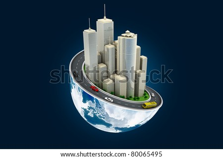 Earth and buildings, concept art - stock photo