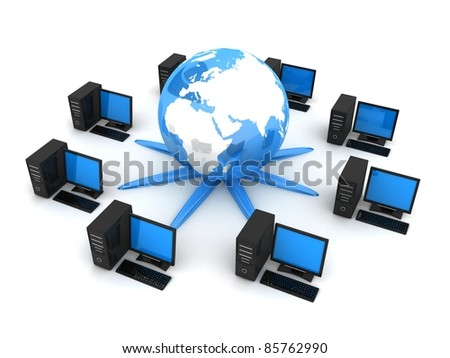 Earth and computers (done in 3d, on white background) - stock photo
