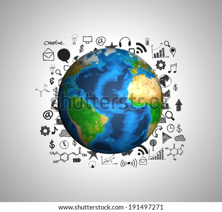 Earth and drawing graph (Elements of this image furnished by NASA) - stock photo