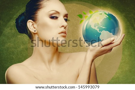 Earth and eco protection concept. Female abstract portrait
