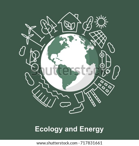 Earth and energy sources. Alternative energy sources against the traditional. Ecological concept development Electric power sources. Linear and flat style. Save the planet  illustration.