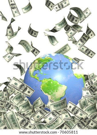 Earth and falling dollar banknotes. Isolated over white