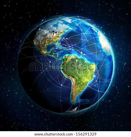 earth and flight routes - Universe background - USA  - stock photo