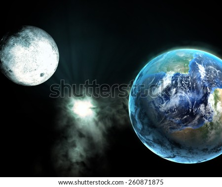 Earth and galaxy, Elements of this image are furnished by NASA - stock photo