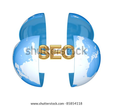 Earth and golden word SEO.Isolated on white background.3d rendered. - stock photo