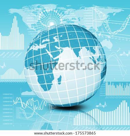 Earth and graphics. The concept of the global economy - stock photo