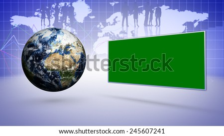 Earth and Green Monitor, Business Concept, Elements of this image furnished by NASA - stock photo